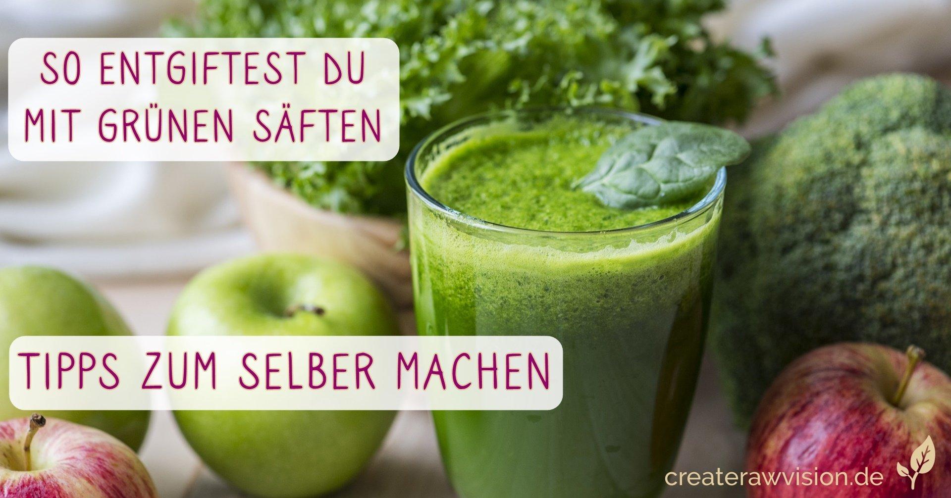 Grünkohl mit Broccoli, Äpfeln und einem Glas Saft