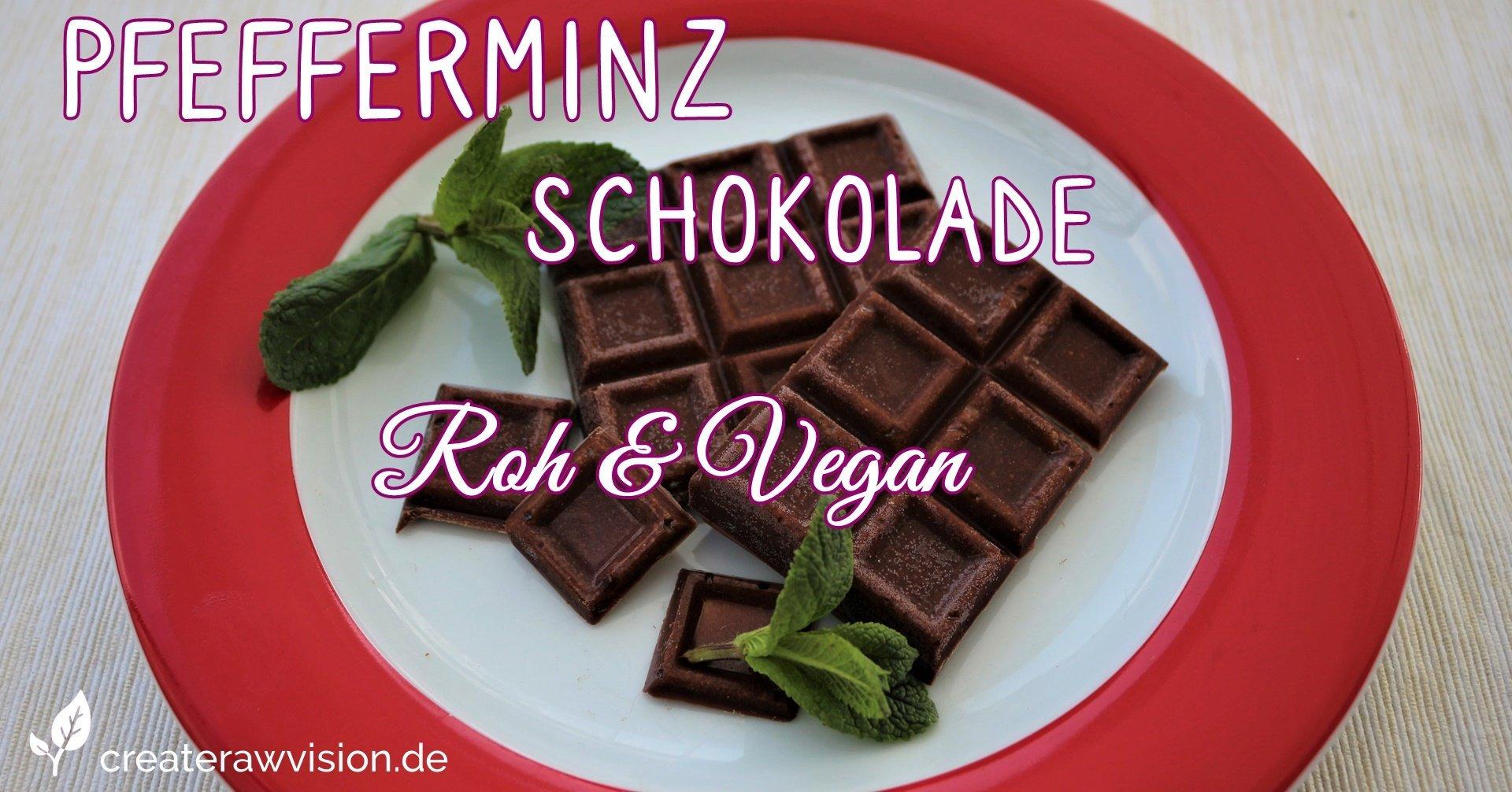 Pfefferminz Schokolade und Minzblätter